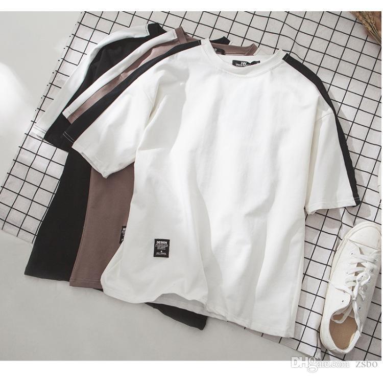 Новый дизайнер с коротким рукавом вышитые футболки мужская свободные модули пара Половина рукава корейской моды одежды 5-точечный рукав базовый слой WGTX213