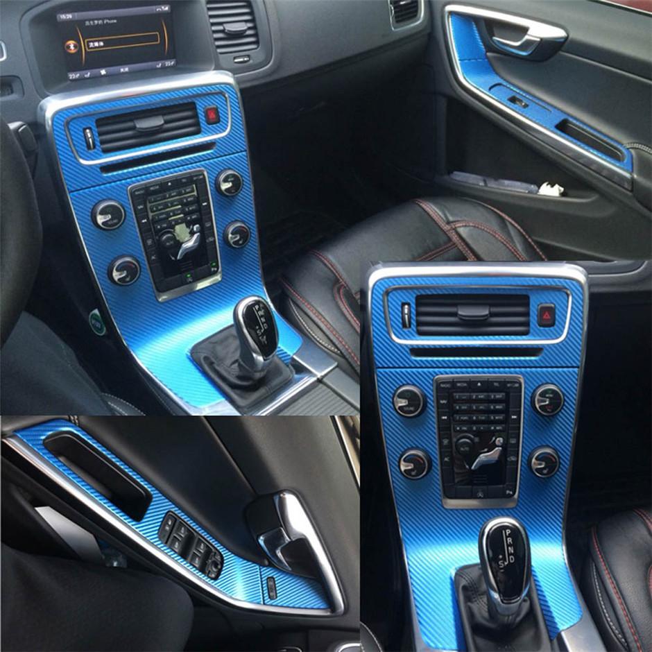 Pour Volvo V60 S60 2011-2018 Intérieur Central Control Panneau Poignée de la porte 5D Carbon Fibre Stickers Stickers Car Styling Accessoire