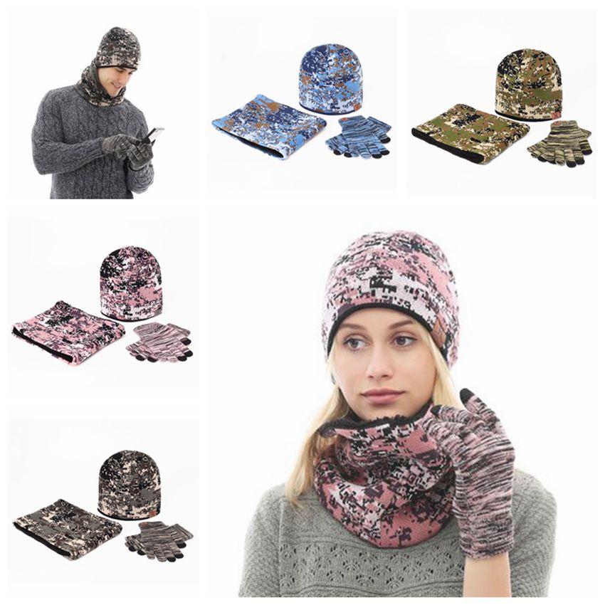 Camuflagem Ao Ar Livre Gorros Knitting Mantenha Proof chapéu morno do inverno com Luva Cachecol Moda suave Cashmere Vento Cap Set ZZA894