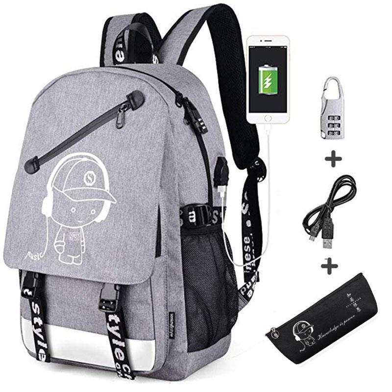 Zaino College Daypack Borsa da scuola a spalla Zaino da viaggio unisex Borsa per laptop causale Zaino con porta di ricarica USB