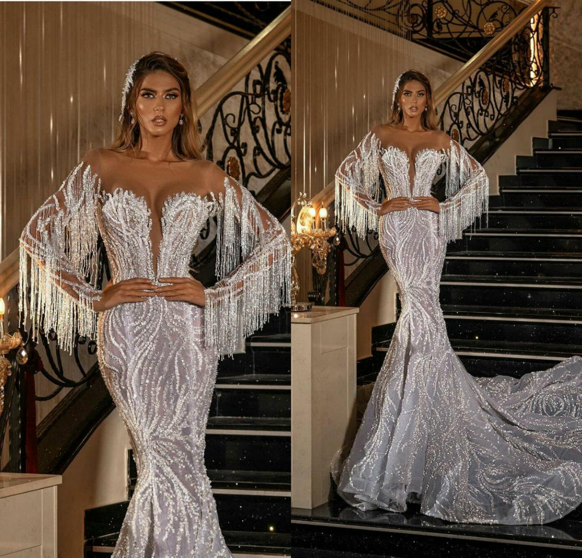 Sparkly South African Luxury Mermaid Wedding Dresses Beading Tassel Long Sleeve Bridal Gowns Vestido De Novia Sexy Illusion Sequins Wedding