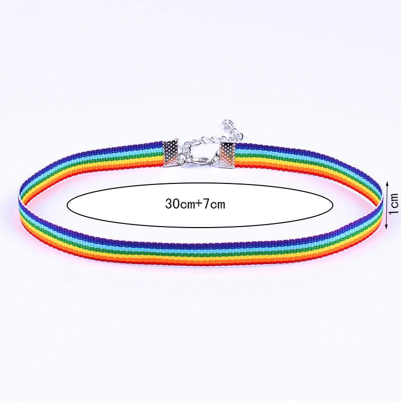 lace necklace men Women Gay Pride Rainbow Choker Necklace Gay Lesbian Pride Lace Chocker Ribbon Collar hip hop jewelry drop ship
