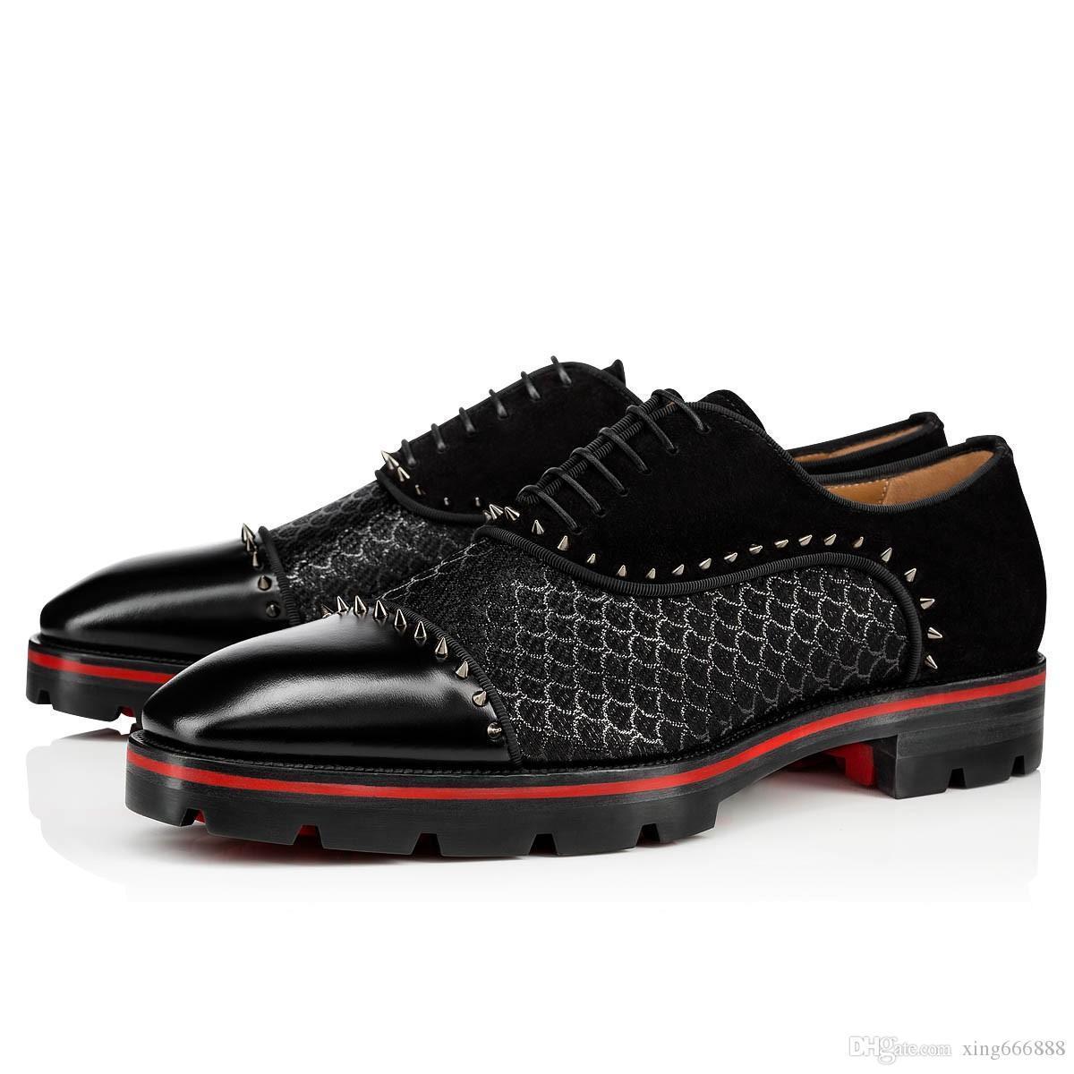 الترفيه شقق جلدية شهم أحذية الأحمر أسفل أوكسفورد متعطل فاخر الخف صور المطاط النعال جلد طبيعي مع إبزيم الحذاء سوبر