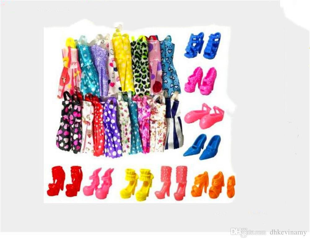 El yapımı Parti Bebek Elbise Giyim Ayakkabı Kıyafeti En İyi Bebek Noel Hediyesi için 1 grup = 10 adet Bebek Kısa Etek + 5 Pair Terlik Kıyafetler Bebek Için