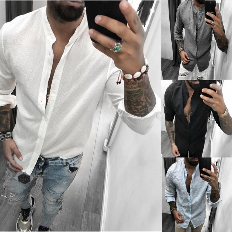 Camisa para hombre masculino transpirable color sólido ocasional de la camisa de manga larga del collar del soporte Moda Slim Fit diseñador simple