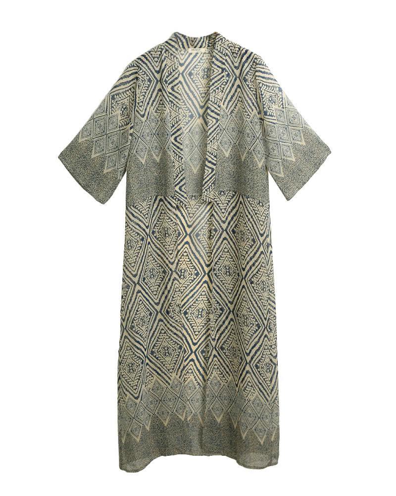 بحر 2019 المرأة الشيفون كيمونو صوفية هندسية طباعة شاطئ بوهو قميص الصيف فضفاضة بيكيني التستر الأزرق / الأسود G8948BL-3XL