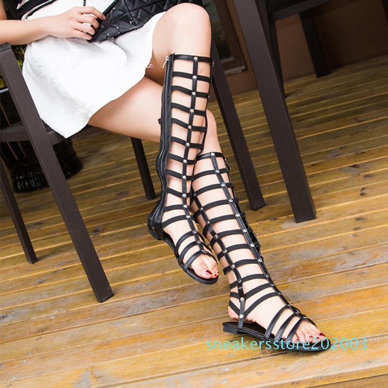 Bayan Kadın Ayakkabı Moda Gladyatör Sandalet strappy Düz Diz Yüksek Uzun Yukarı Boots Perçin Hollowed aşımı Sandalet Ayakkabı S03 Zip