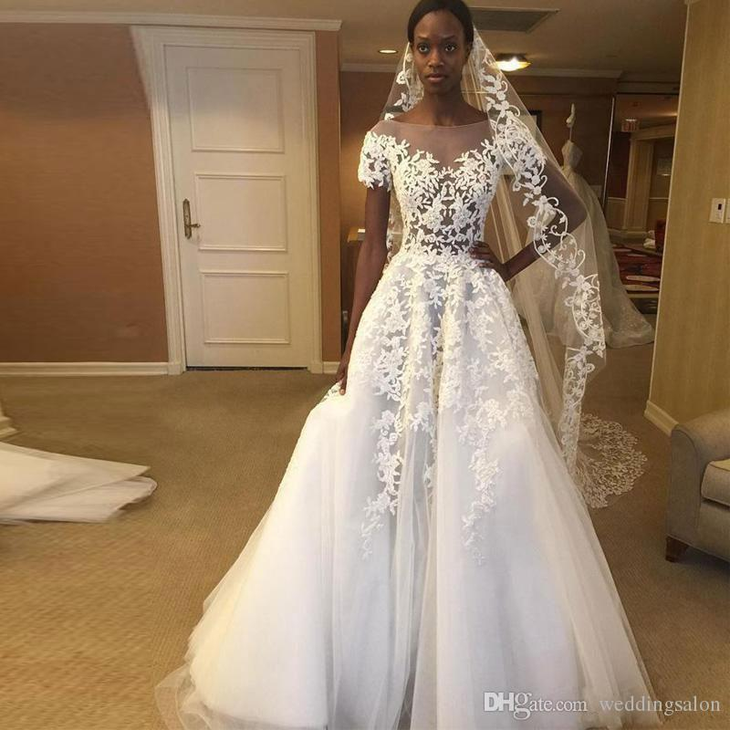 Zuhair Murad A Line Lace Wedding Dresses Sheer Bateau Neck Appliqued Bridal Gowns Sweep Train Tulle Short Sleeves Vestidos De Novia