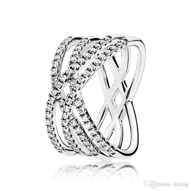خط الأزياء تشيكوسلوفاكيا الماس الدائري 100٪ الاسترليني الفضة مصمم الفاخرة لحلقات الزفاف باندورا المرأة مع مربع الأصلي شحن مجاني