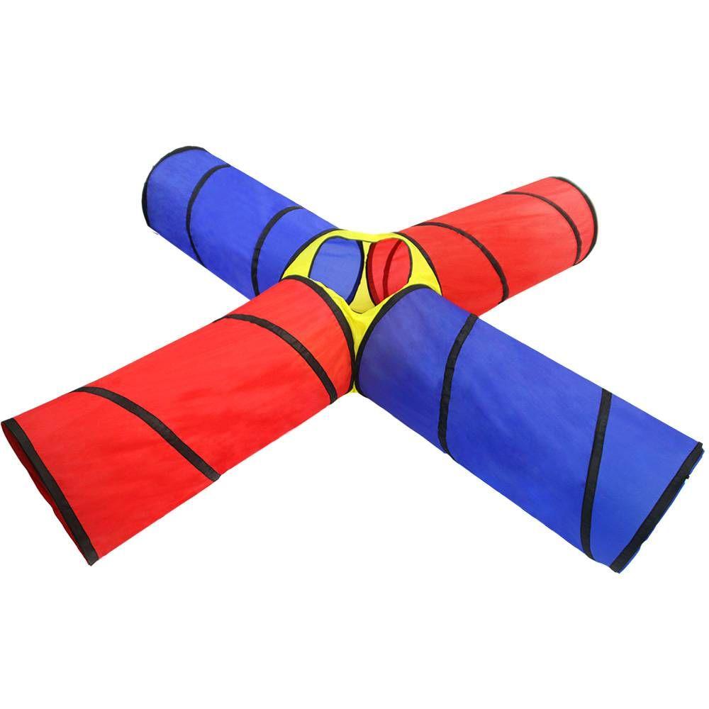 190T Polyester 4 voies Tunnel de jeu pliant Tente de parc portable pour enfants Play Yard avec sac en tissu pour enfants pour enfants