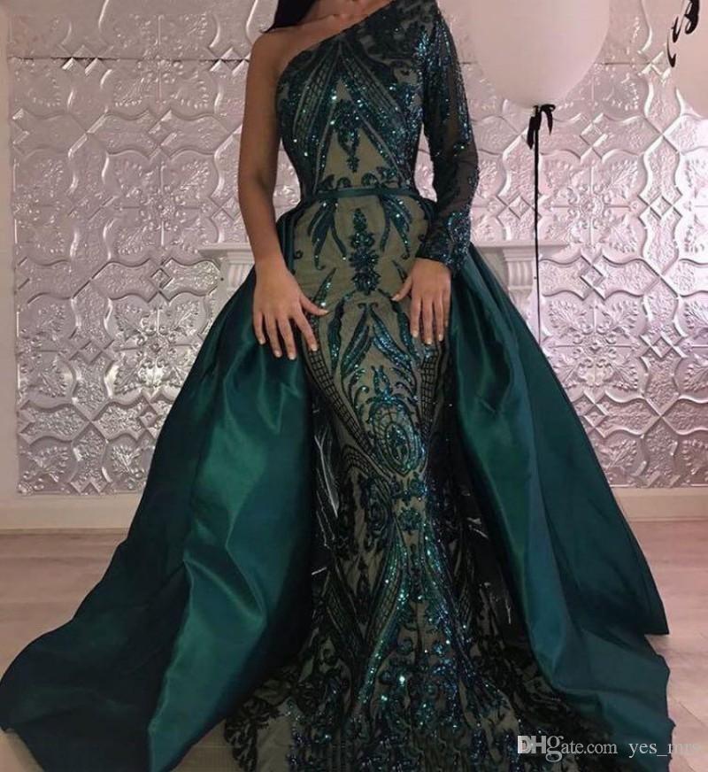 2020 Sparkly verde esmeralda sereia Vestidos de baile de um ombro apliques Lantejoulas overskirts Plus Size Vestidos Mulheres formal do partido Vestidos