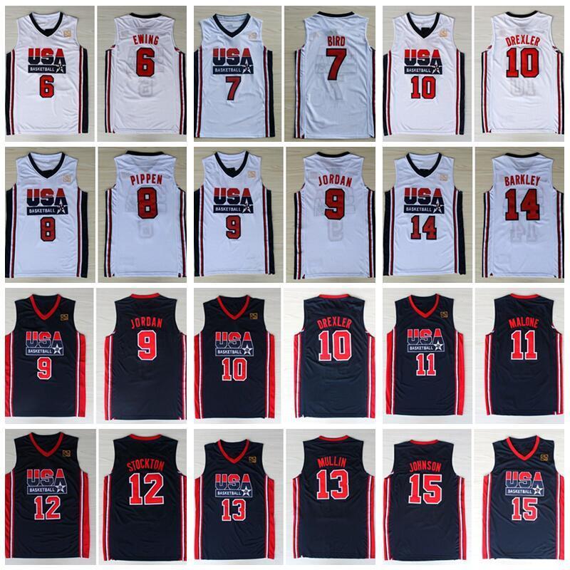 1992 فريق الولايات المتحدة الأمريكية لكرة السلة الفانيلة دريم لاري بيرد مايكل باتريك يوينغ سكوتي بيبن كلايد دريكسلر جون ستوكتون تشارلز باركلي جونسون