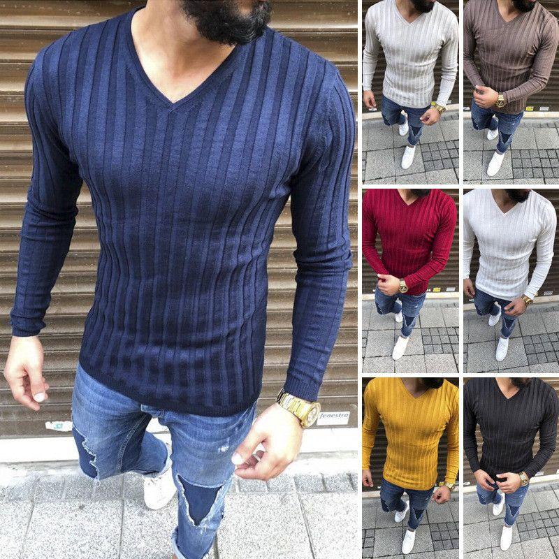 T-shirts à manches longues à rayures verticales pour hommes Casual Casual col en V Pull T-shirts pour hommes