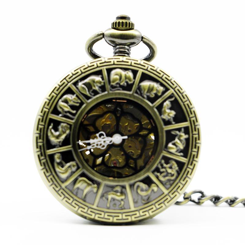 Best Antique Vitage Zodiac Constellation Pattern Case Hollow Pocket Watch Australia Map Fob Clock Men Women PJX1297
