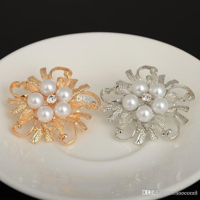 Cristal Fausses Perles Broche Fleur Forme Fashion Jewelry Wedding Bridal PIN