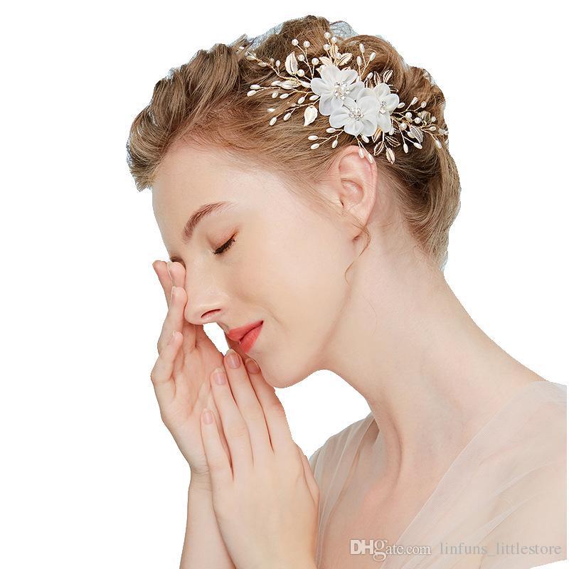 2019 Hot sale new bride headdress pearl hair headband wedding hair jewelry for women jewelry accessory