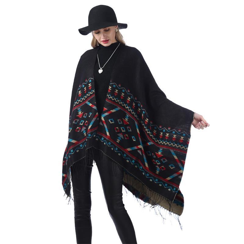Frauen Übergroße gestreifte Schal Mode Plaid Warme Winter Schal Kausal Dame Decke Strick Nationaler Stil Split Cloak LT-TTA1285