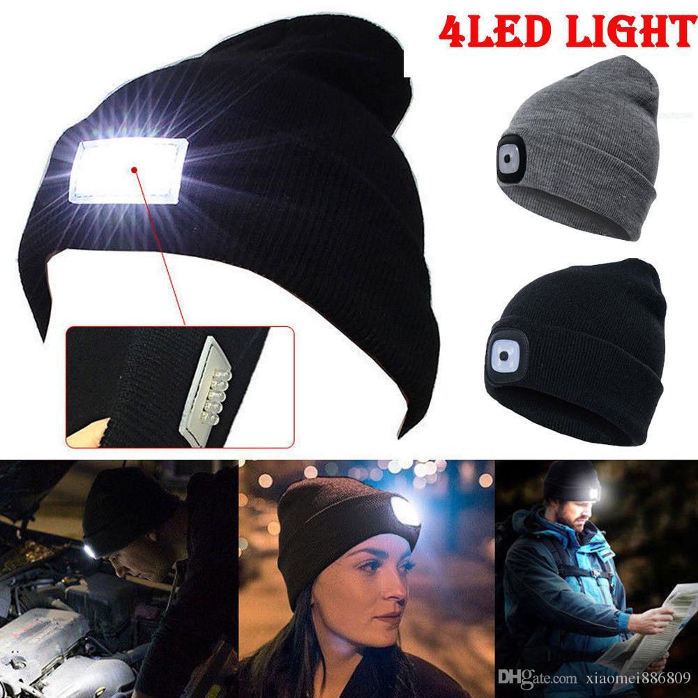 Novo Design 4 LED Head Lamp Knit Beanie Chapéu Luz Cap Camping Pesca Caça Ao Ar Livre