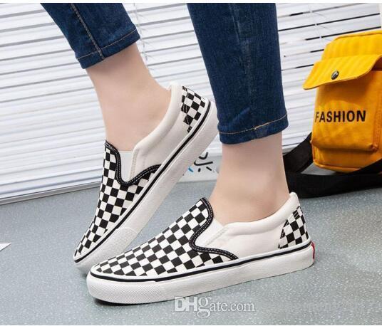 2019 SıCAK erkek Ayakkabıları Kaykay Ayakkabı Çift Modelleri Klasik Siyah Ve Beyaz Ekose bir Pedal Tuval bayan Ayakkabıları