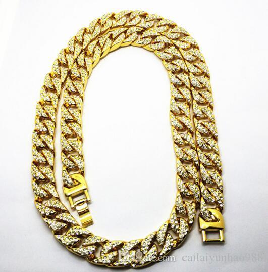 15 MM Homens 14 K Banhado A Ouro exagerado hip hop cubano cadeia de Água colar de diamantes