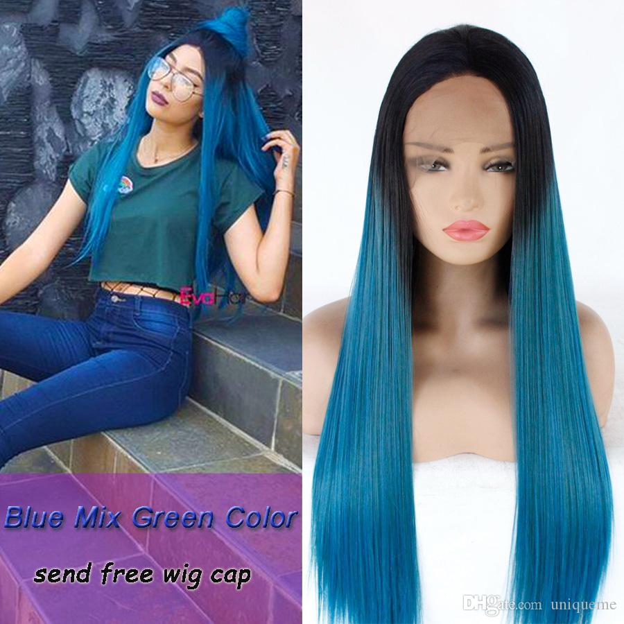 Blue Mixed Green Ombre Color Wig Silky Straight Hair Synthetic Lace Front Wigs Heat Resistant Synthetic Hair Lace Wig For Women Cosplay Wigs