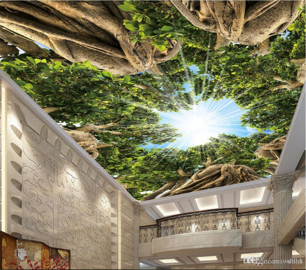 3d ceiling murals wallpaper custom photo non-woven mural Primitive forest big tree sky light through the top of the tree top zenith painting