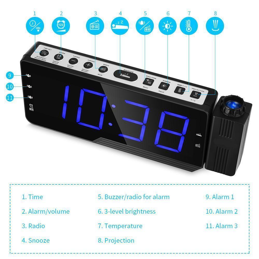 Rádio Digital Alarm Clock Projeção Snooze Temporizador Temperatura Display LED USB Charge Cable 110 Degree parede Table Clock Radio FM