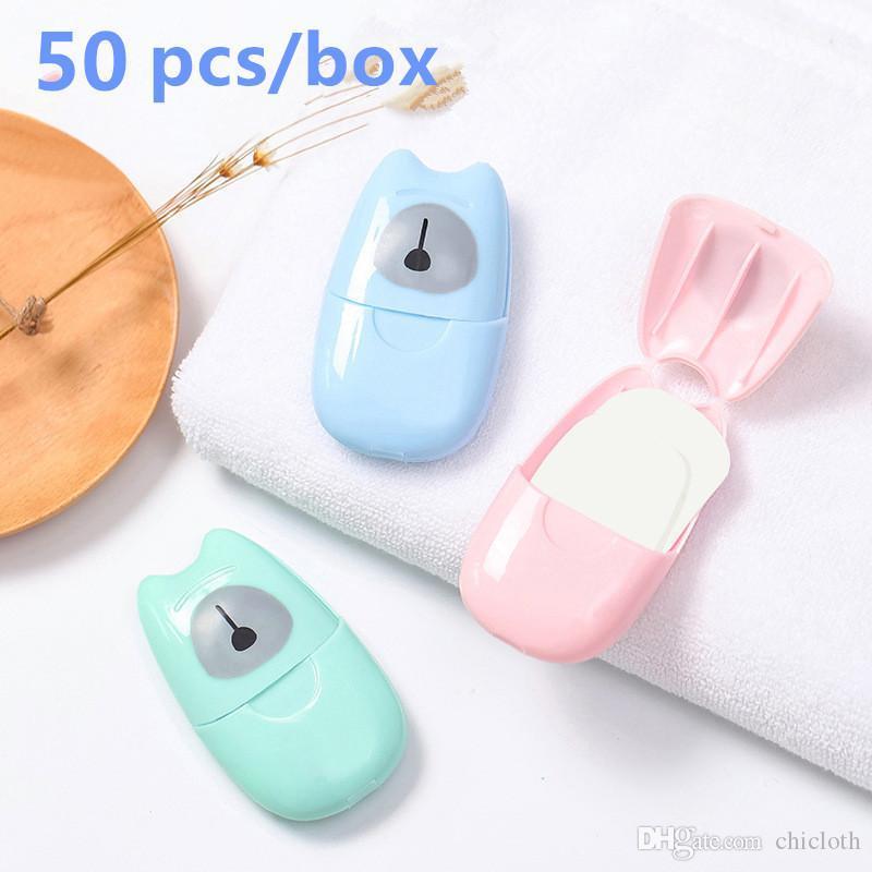 Tek kullanımlık Karşıtı toz Mini Seyahat Sabun Kağıt Yıkama El Banyo Temizleme Portatif Kutulu Köpük Sabun Kağıt Kokulu Sayfaları FY6024
