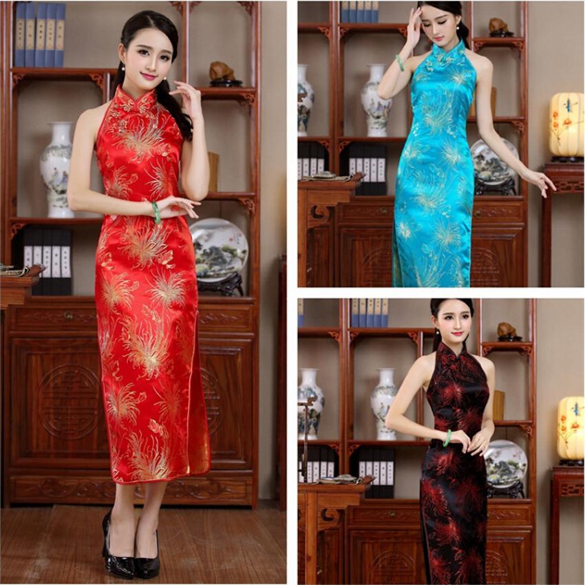Vestido sin espalda de las mujeres Sling cuello trajes tradicionales chinos Tang traje Cheongsams Tight Bodycon Floral vestido Qipao Kimono