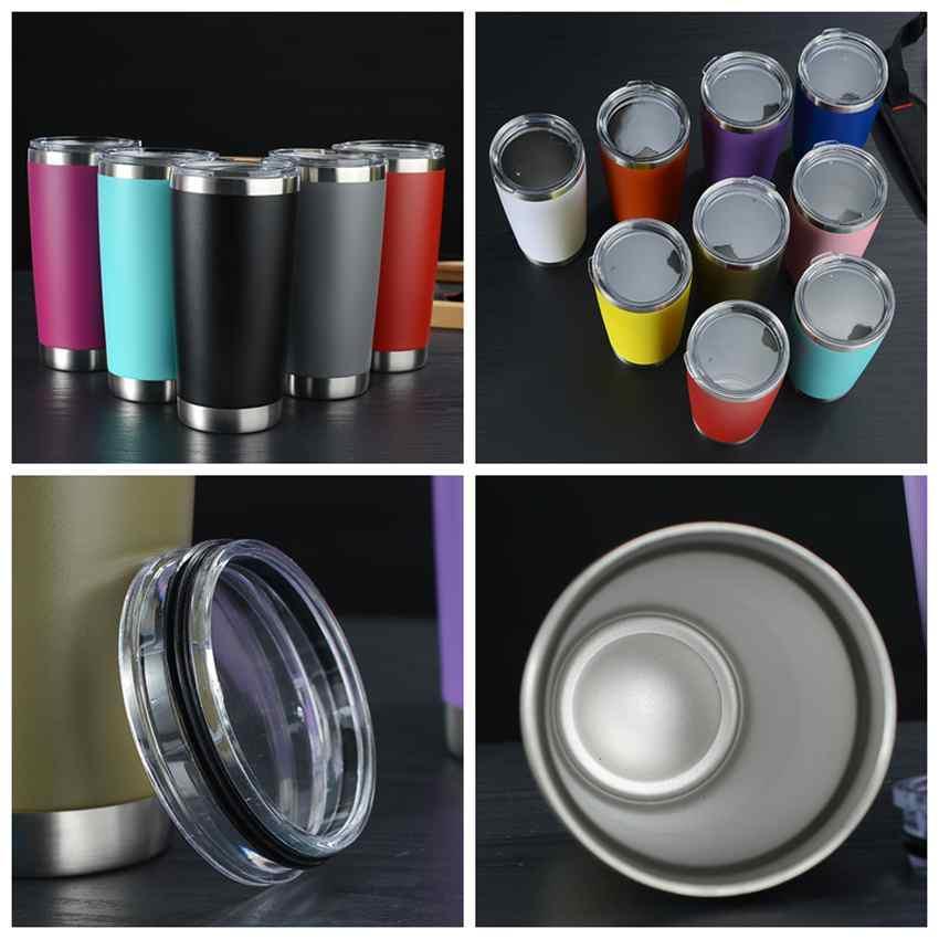 20 onças de aço inoxidável copos copos de parede dupla com isolamento de água caneca de viagem do metal Garrafa 13 cores cerveja caneca com tampa ZZA2306 10pcs