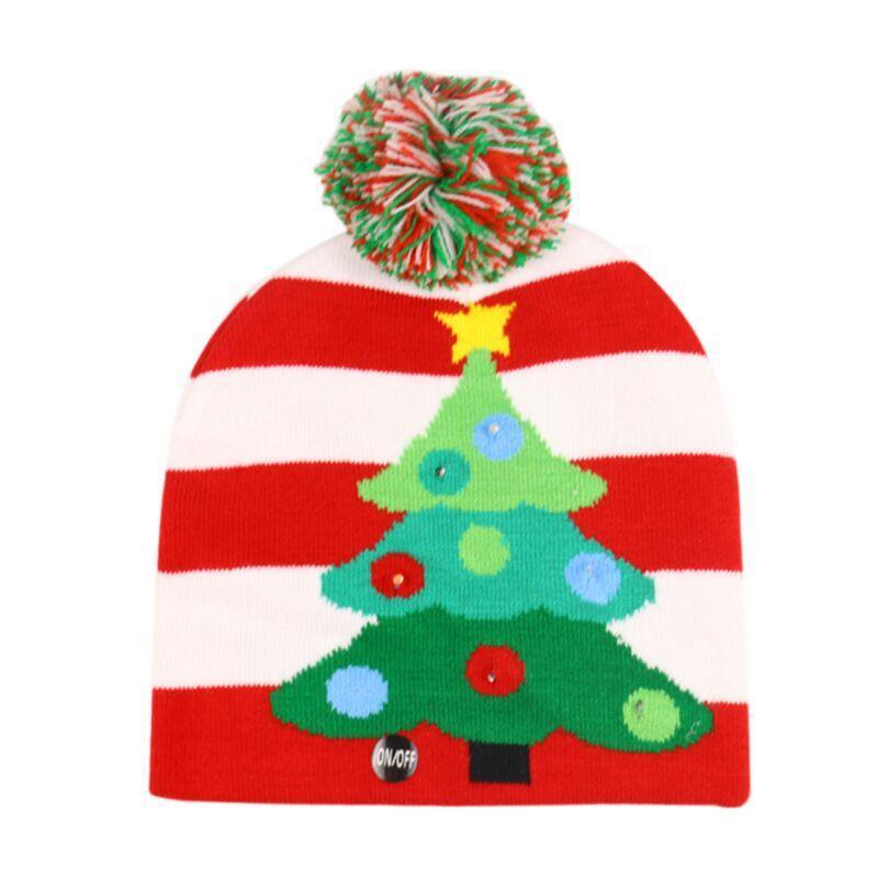 Led Halloween Christmas Knitted Hats Kids Baby Winter Warm Beanies Crochet Caps Light Pumpkin Snowmen Festival Party Hat GGA2746