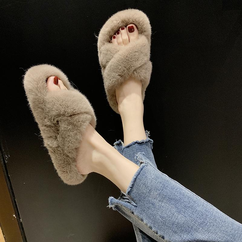 Cozy Furry Slides Winter Women House Fuzzy Slippers 2019 Faux Fur Fashion Warm Home Shoes Woman Slip on Flats Female Y200106