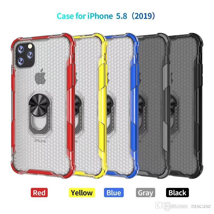 New 2Colors Transparent PC Back With TPU Bumper With Magnetic Ring Holder Case For iphone 6G 7G 8G Plus 11 XS Max XR Cover Case