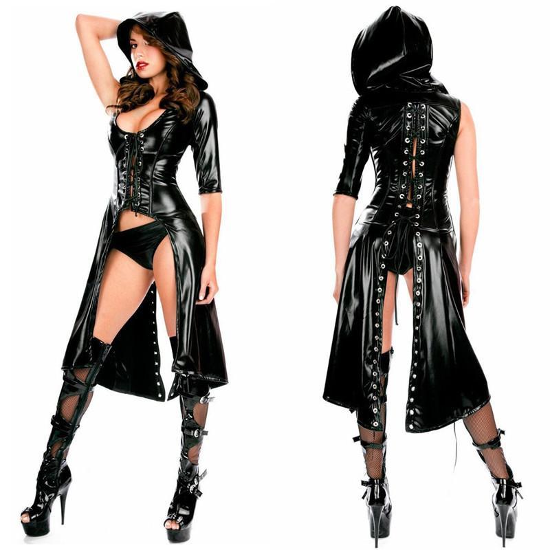 Pelle verniciata delle donne sexy nero bagnato abito Catsuit in PVC Fetish Latex Body Costume Erotic Lace-up Clubwear