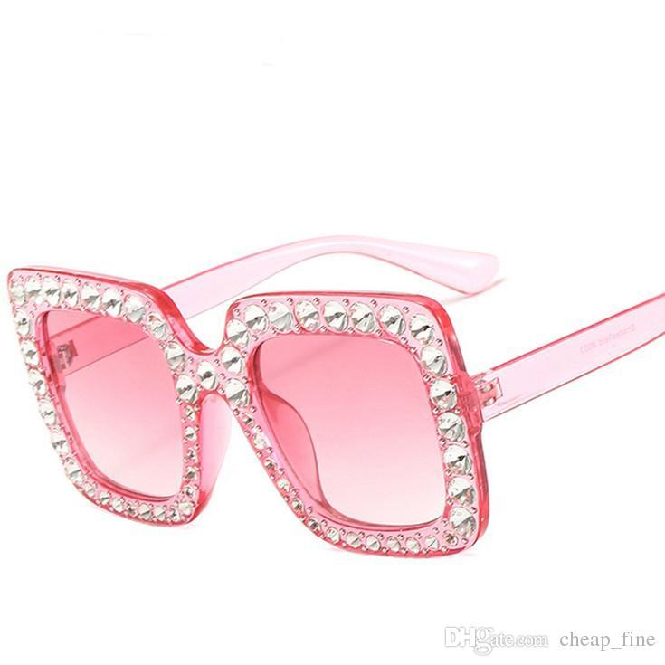 Luxus Designer Sonnenbrille Shining Diamond Sonnenbrille Damen Design Flash Square Shades Damen Spiegel Sonnenbrille Oculos Lunette 5702