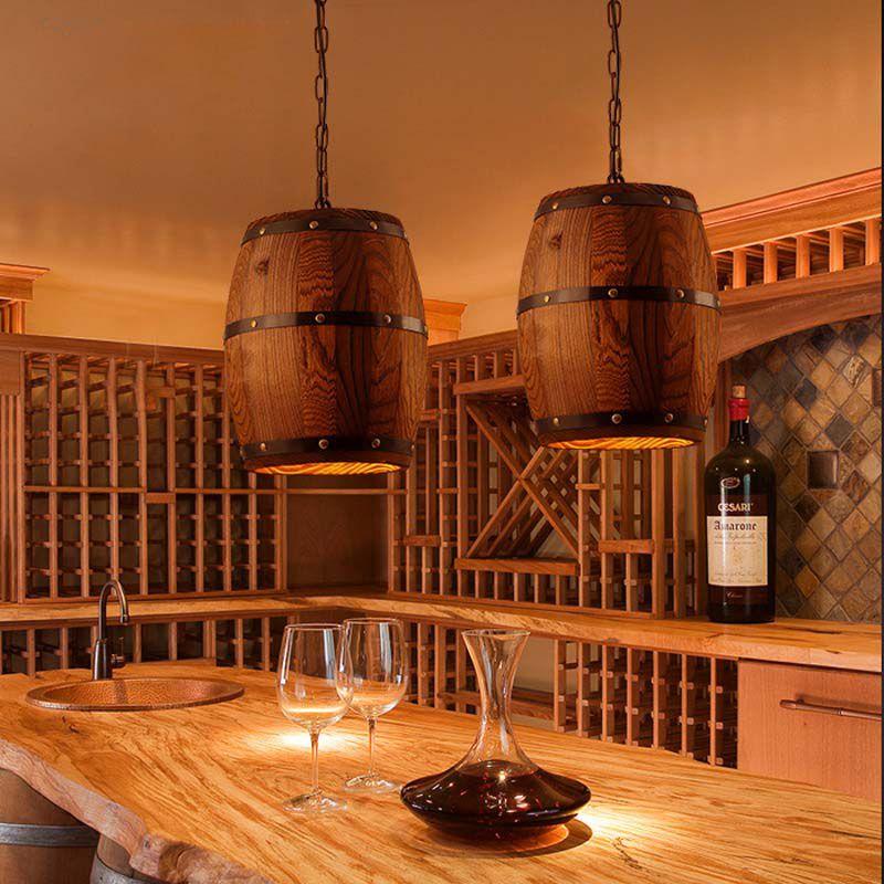 El Compre Bar Colgante Para Cafe Lámpara Restaurante Estilo Americano Barrel Techo Iluminación Candelabros Wine Wood Decoración Retro En Hogar Real OX0Pk8wn