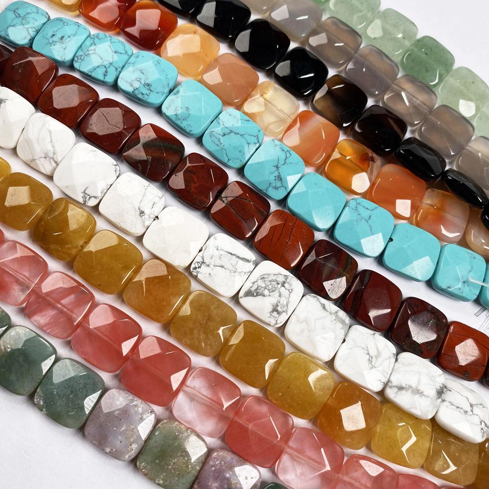 Naturstein Quadratische Form Facet Perlen Kristall Perlen für Schmuck machen DIY Halsketten-Armband Zubehör Halbzeuge