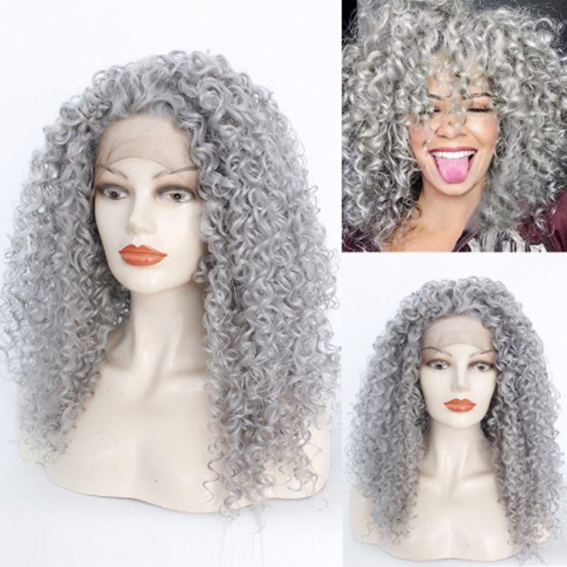 Высокая плотность Afro Kinky завитой серебристо-серая синтетический парик фронт парики Термостойкая Половина рука связала