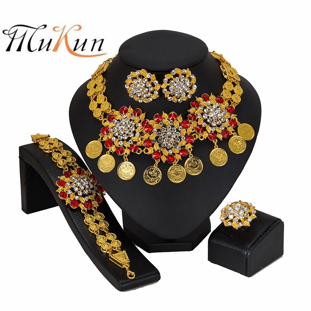 MUKUN Crystal Bridal Jewelry Set Wholesale Dubai Gold Jewelry Sets Women customer nigerian Wedding Brand set Design Gift