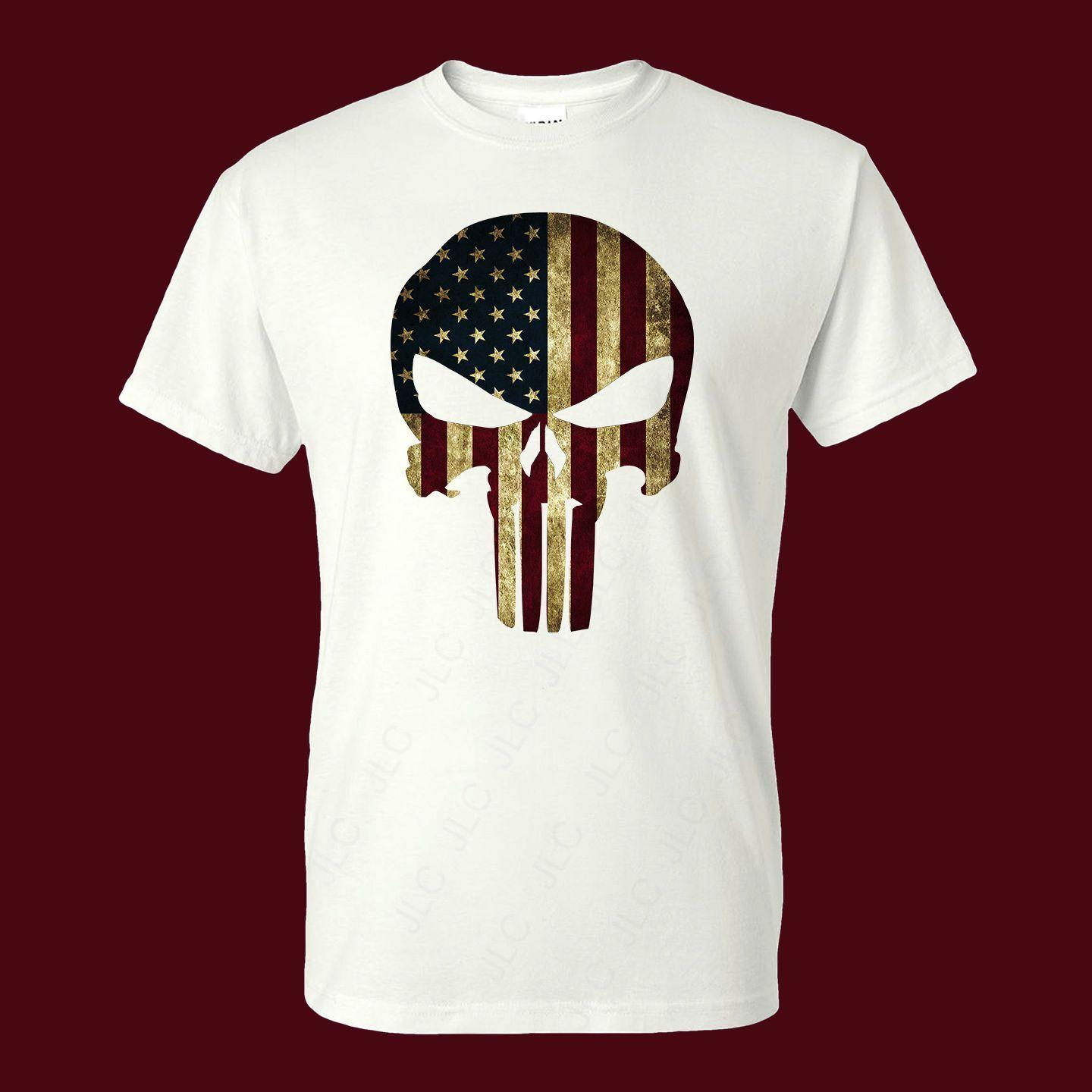 American Flag Punisher Skull Distressed Men/'s T-Shirt Ready to ship!