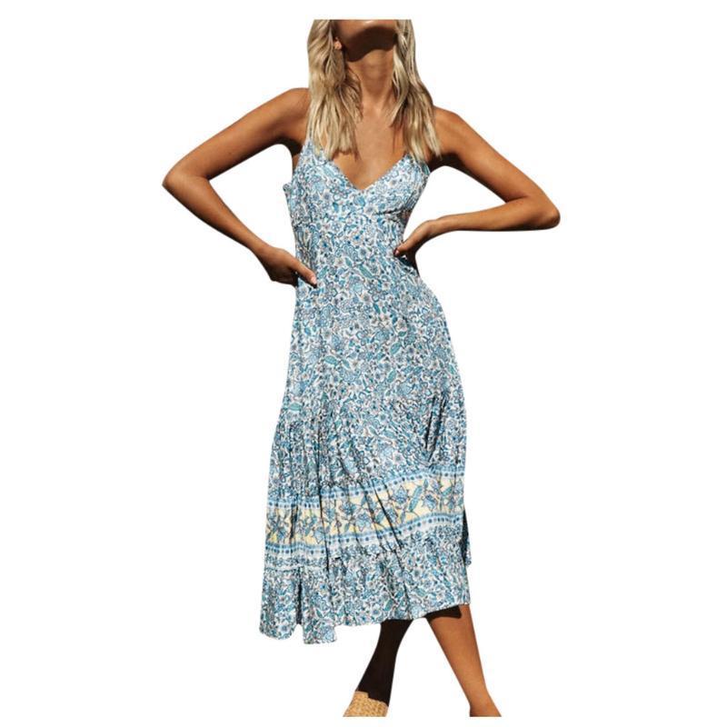 Sagace Boho Kleid Damen Maxi mit Blumenkleid Damen Riemchen Sommerkleidung für Frauen Urlaub Beach Long Sundress vestidos de verano