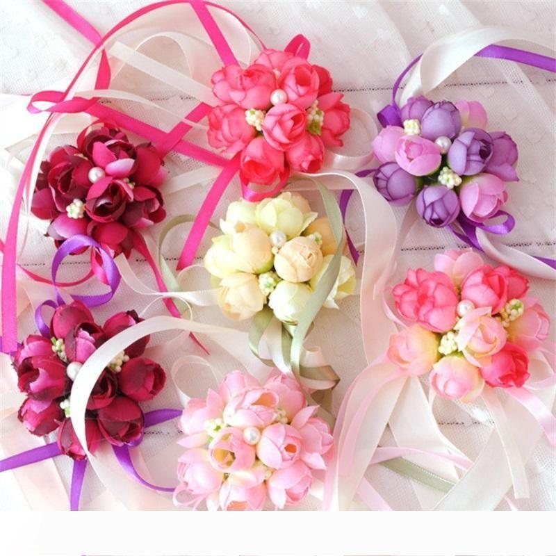 A Fashion Artificial Flowers Wedding Celebration Bride Wrist Flower Simulation Pearl Lace Corsage Bridesmaid Sister Bridal Prom De