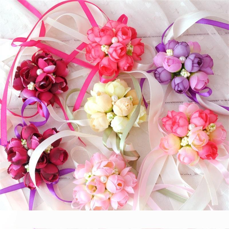 A Moda Flores artificiais celebração do casamento da noiva de flor de pulso Simulação Pérola Lace Corsage da dama de honra da irmã nupcial Prom De