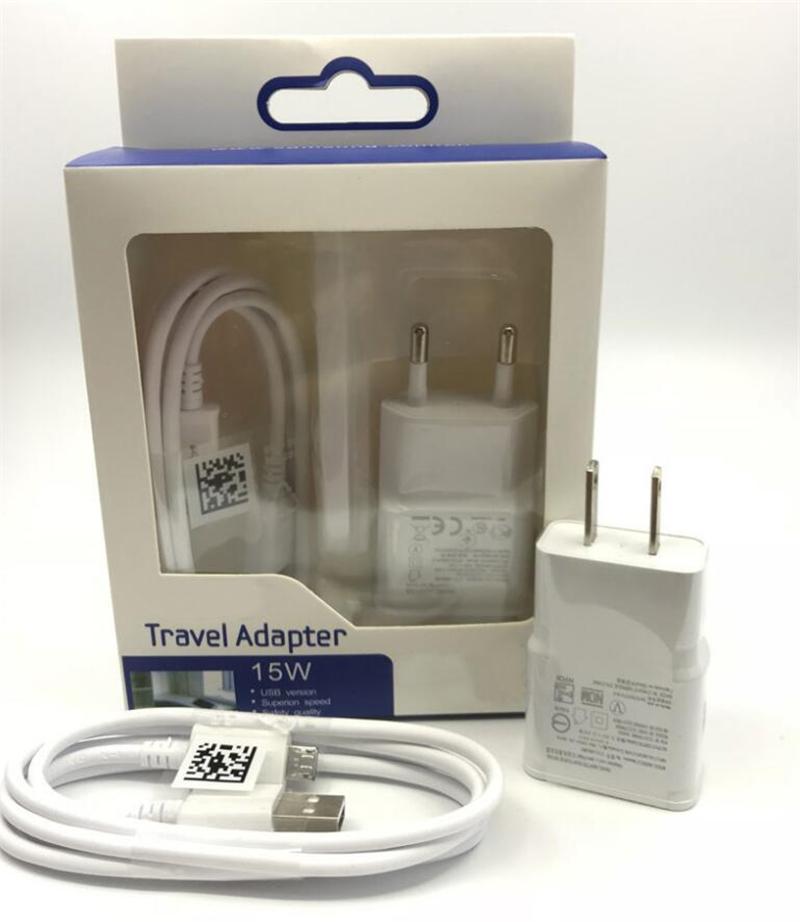 2 em 1 carregador Kit carregador de parede 2A UE US Início Travel Adapter com 1m Micro cabo de dados USB Sync Cable com pacote de varejo Para Samsung S5 S7