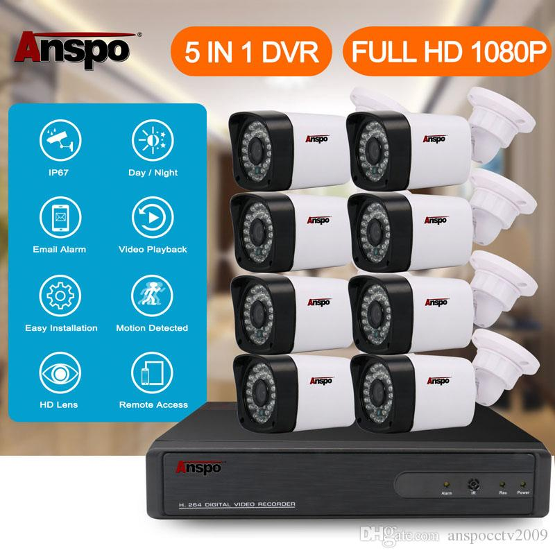 Anspo 8CH 1080P CCTV نظام كاميرا الأمن 5 في 1 DVR الأشعة تحت الحمراء الرئيسية خفض مراقبة للماء في الهواء الطلق أبيض اللون