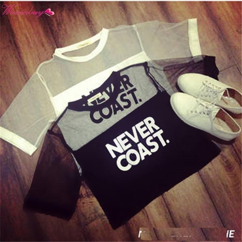 Sexy Women Girls Loose Crop Top T-shirt Crew Neck See-through Gauze Tops Street Style O-neck Letter Short T-shirt Y3