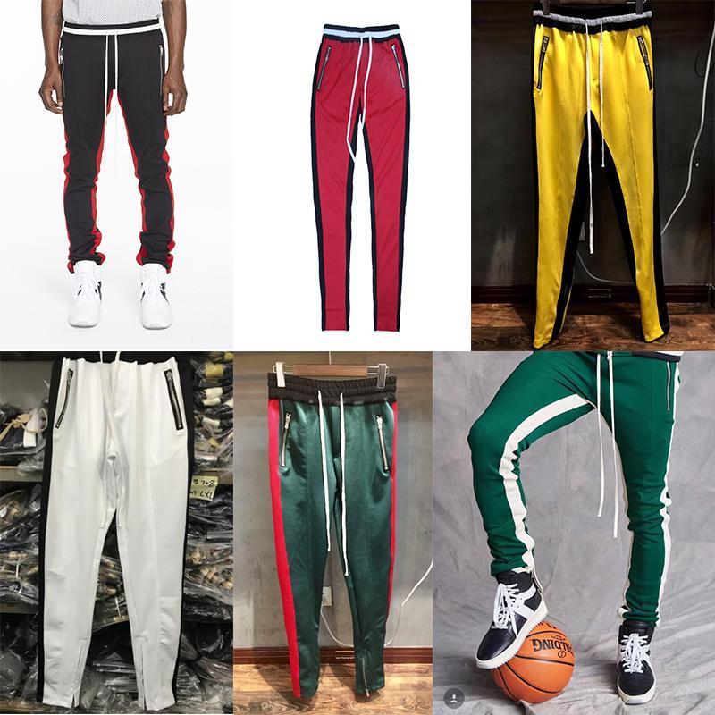 Fashion-Mens Track Pants FOG Designer Joggers Sweat Pants Fear Of God Fashion Retro Striped Yellow Green Sweatpants