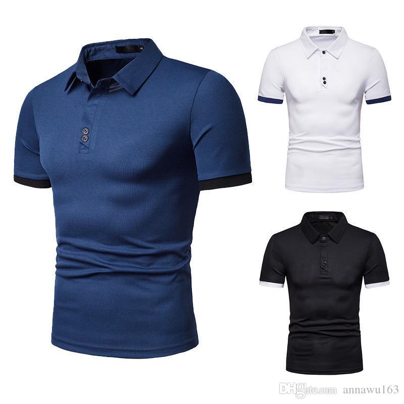 2019 nuevos hombres de Polo de color sólido da vuelta-abajo acitive Polos de verano de la manga corta camisetas camisas sport del envío libre al por mayor