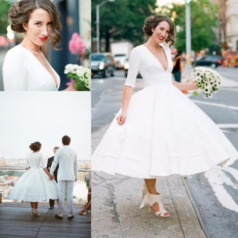 خمر منتفخ تنورة الشاي طول فساتين زفاف تركيا ديب V الرقبة نصف كم زائد حجم الكرة أثواب الزفاف أثواب رخيصة