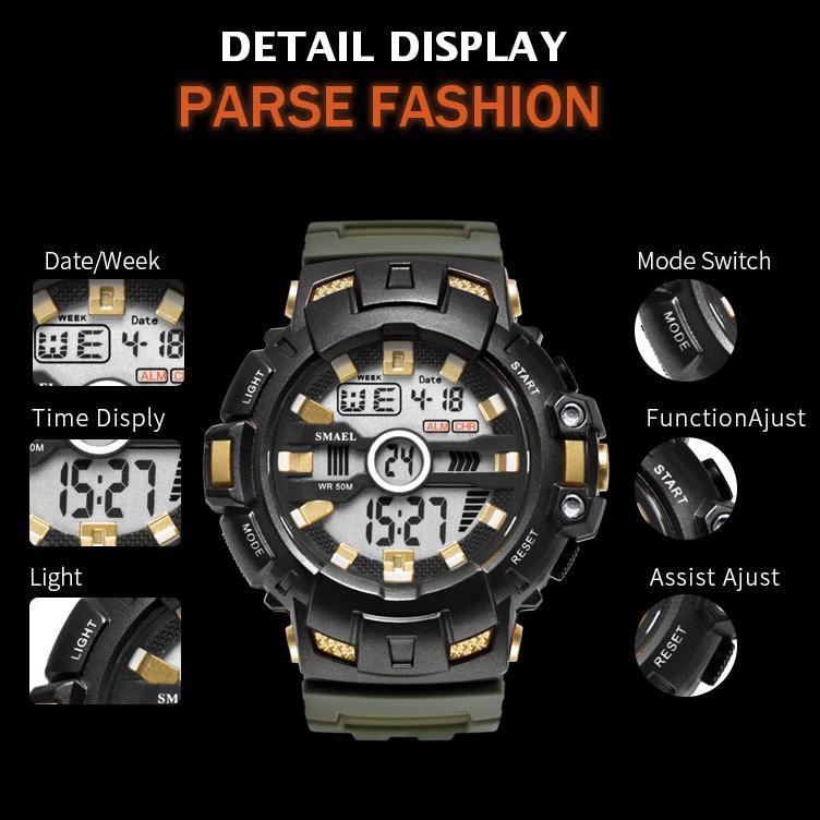 2020 smael led pulseira digital waches smael marca relógio de luxo homens relógios militares alarme relogio montre1532b homens assiste esporte impermeável